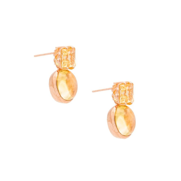Square and Oval Citrine Earrings