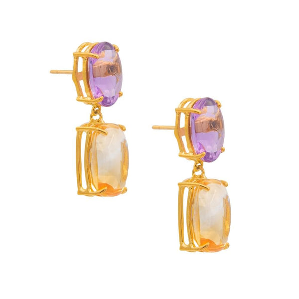 Oval Amethyst with Square Citrine Drop Earrings