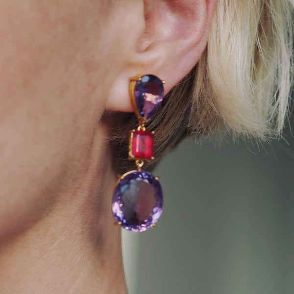 BUTLER & WILSON AMETHYST & RUBY OVAL TEARDROP EARRINGS
