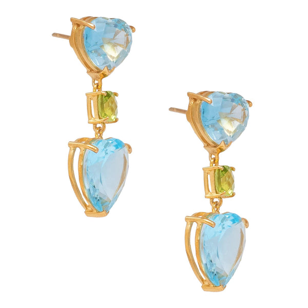 Double Blue Topaz Hearts & Peridot Drop Earrings