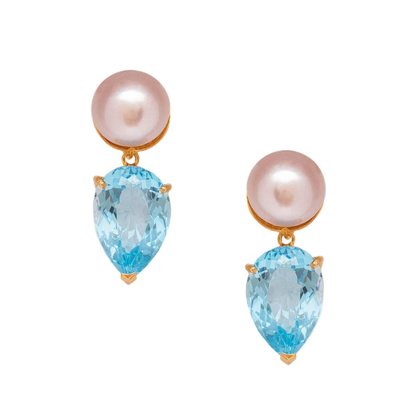 Freshwater Pearl with Blue Topaz Teardrop Earrings