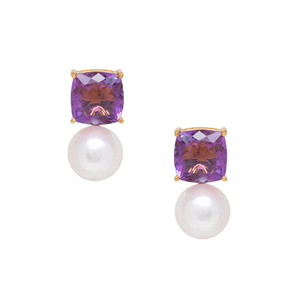 Square Amethyst & Freshwater Pearl Drop Earrings