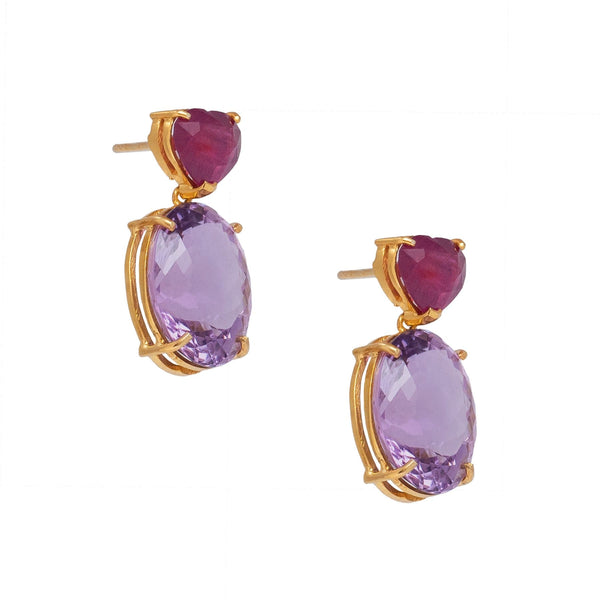 Ruby Heart Amethyst Drop Earrings