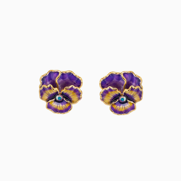 Enamel Pansy Stud Earrings