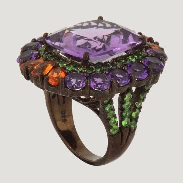Amethyst (13.2 K) Silver Ring With Green Garnet And Orange Sapphire