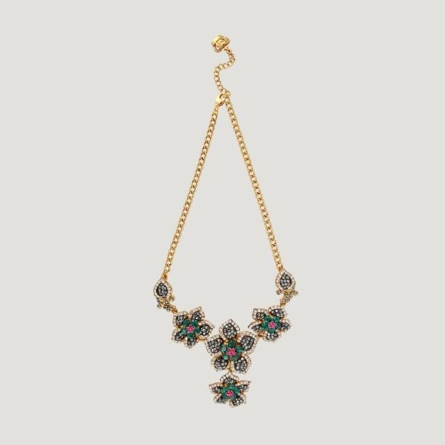 Antique Look 4 Flowers Crystal Necklace