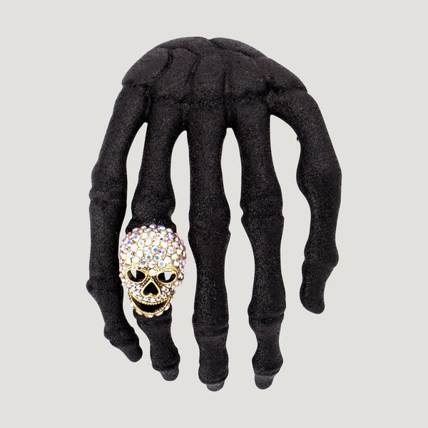 Glitter Hand with Crystal Skull Shoulder Brooch