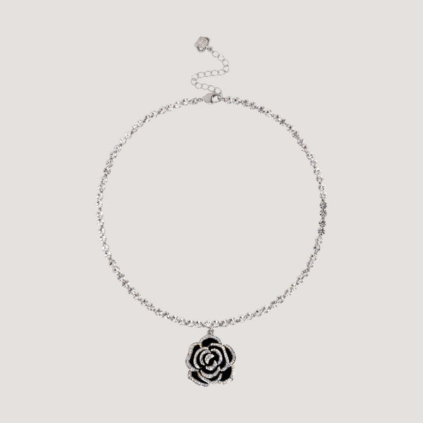 Crystal Rose & Crystal Chain Necklace