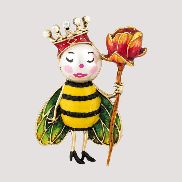 The Queen Bee holding Flower Rod Brooch