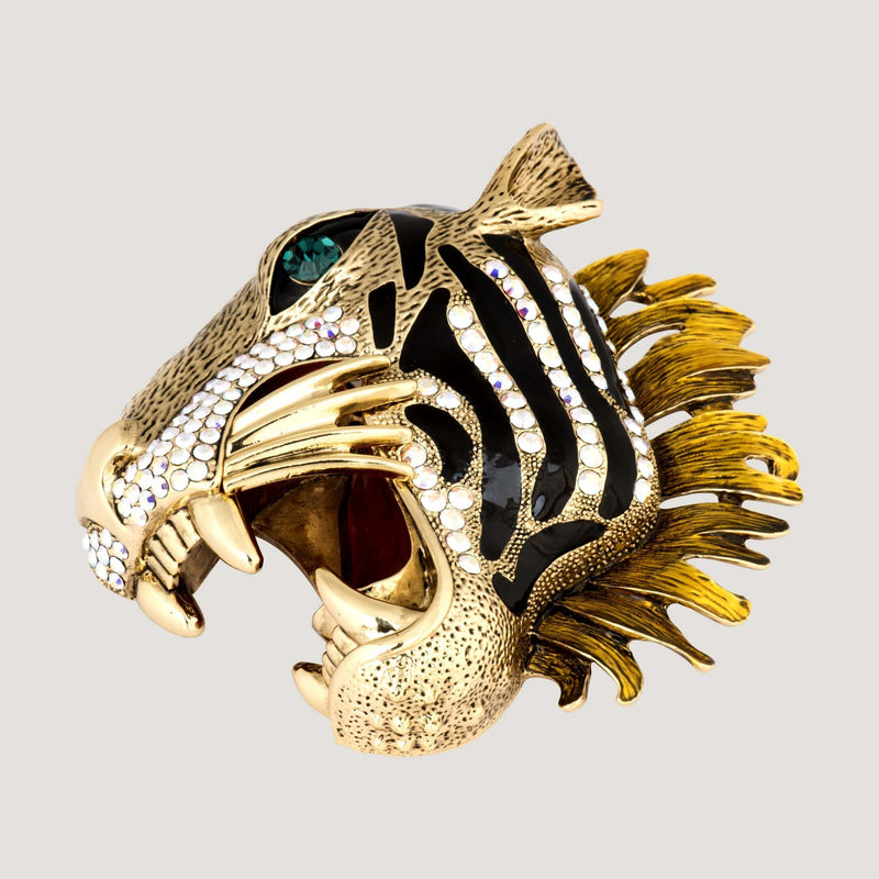 Large Crystal Tiger Head Brooch