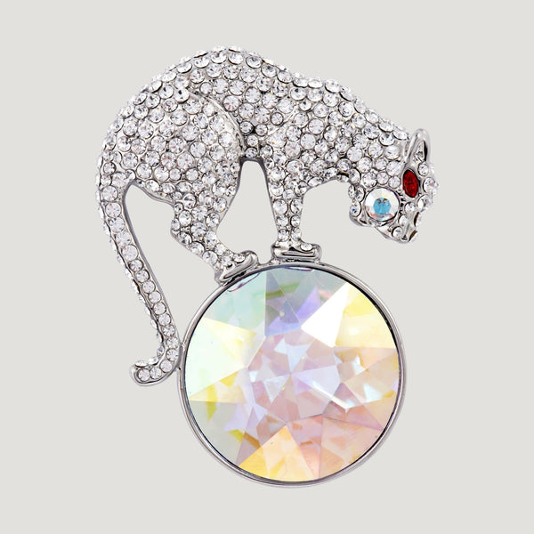 Crystal Encrusted Leopard & Crystal Stone Brooch