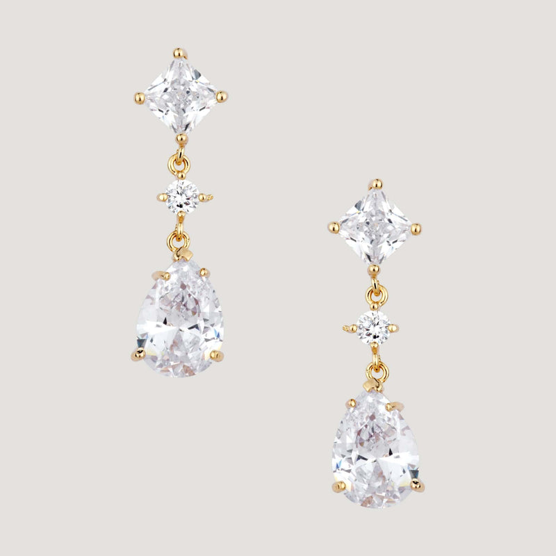 Square Crystal And Teardrop Earrings