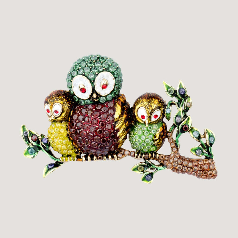 Owl Family on a Branch Brooch
