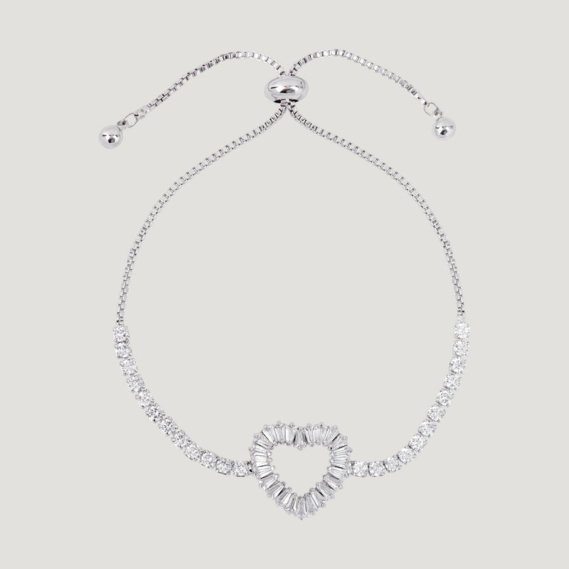 Crystal Heart Adjustable Bracelet