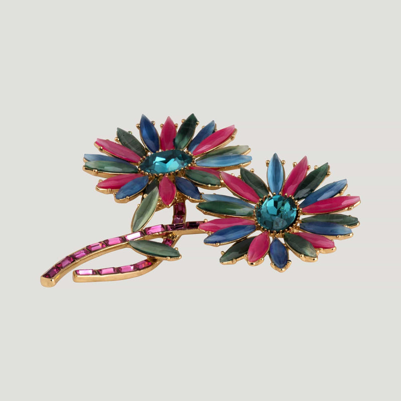 Two Flowers On Stems Brooch