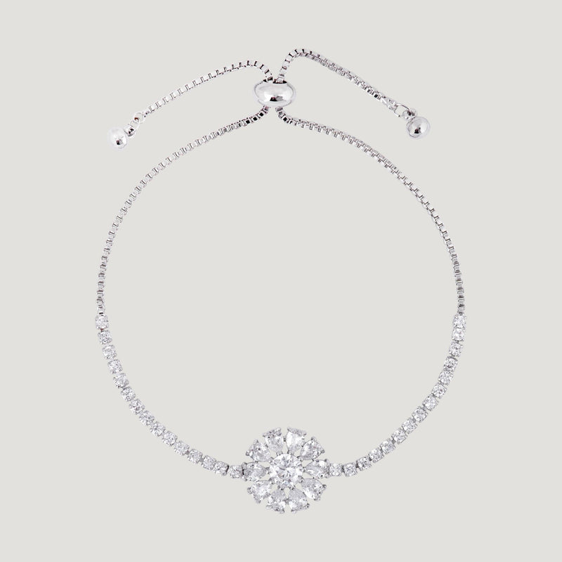 Crystal Flower Adjustable Bracelet