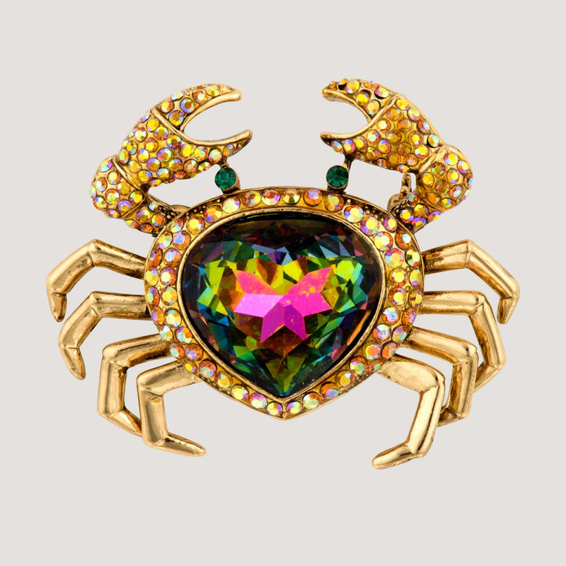 Crystal Cancer Crab Brooch