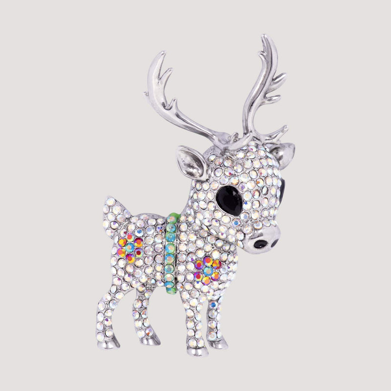 Crystal Deer Brooch
