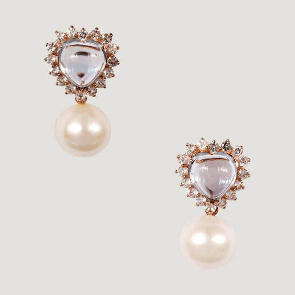 Polished Heart Shape Blue Sapphire Drop Pearl Earrings