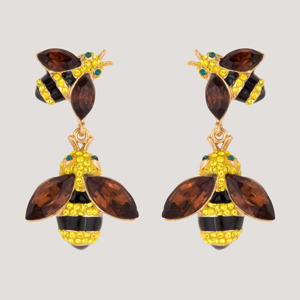 Crystal Bee Drop Earrings