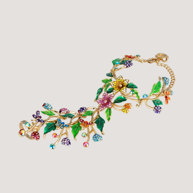 Crystal Flowers & Leaves Bracelet with Attached Ring