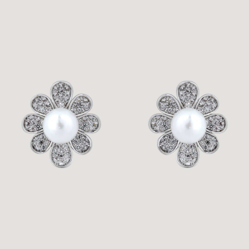 Crystal Flower & Pearl Stud Earrings