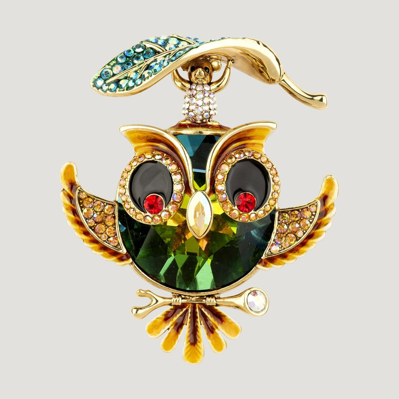 Owl & Small Mouse Holding Leaf Brooch