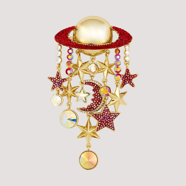 Planet with Stars and Moon Brooch