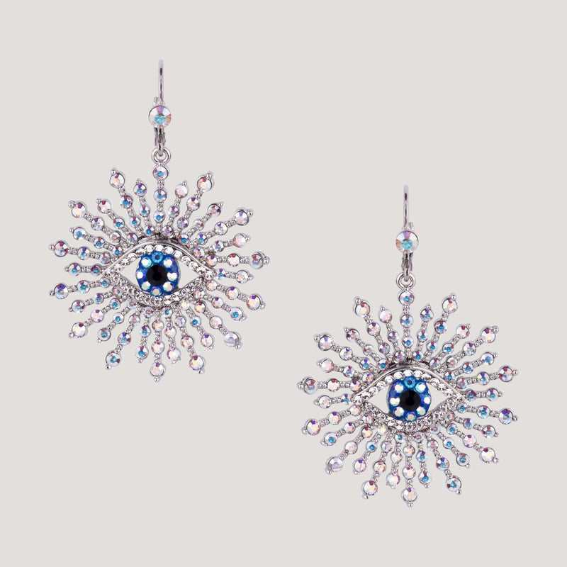 Crystal Encrusted Eye Starburst Drop Earrings