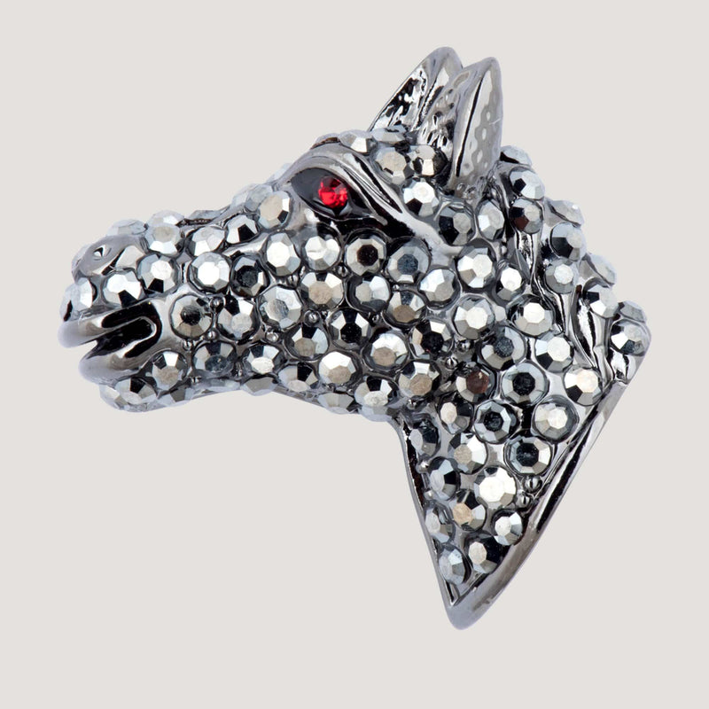 Small Crystal Horse Head Clutch Pin