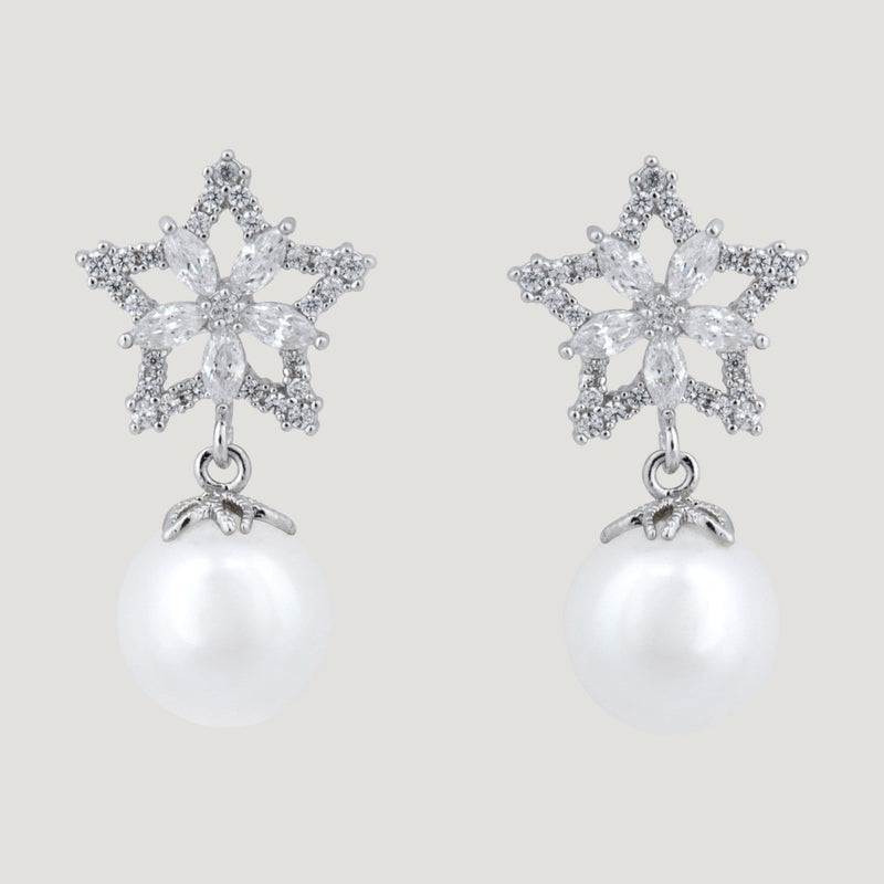 Star & Flower Pearl Drop Earrings