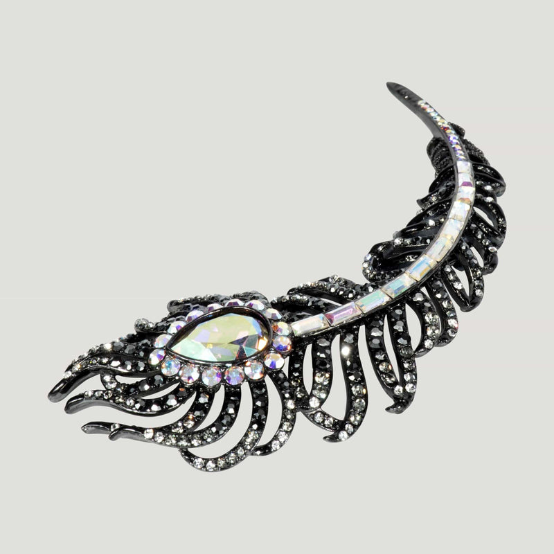 Crystal Feather Brooch