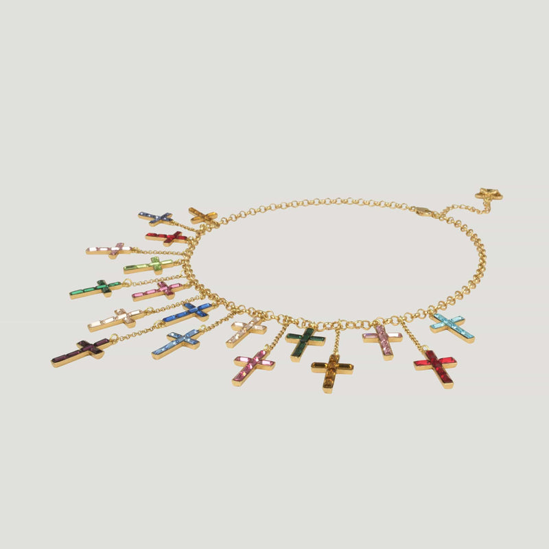 Multi Crystal Crosses Shower Drop Necklace