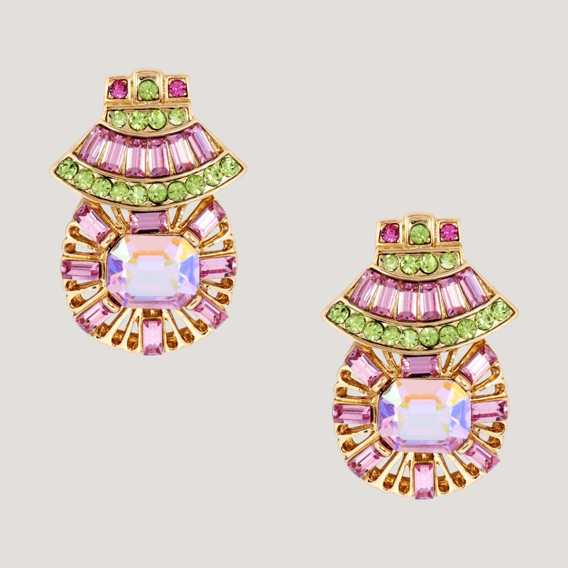 Crystal Fan Baguette Stones Art Deco Earrings