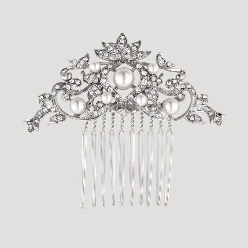Delicate Crystal and Pearls Hair Comb