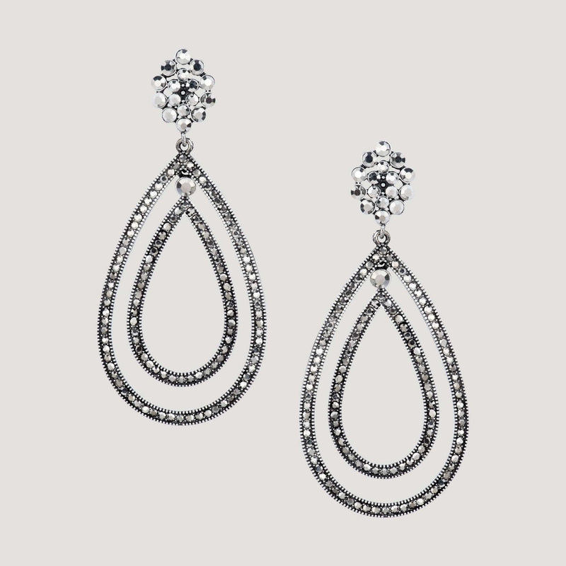 Double Crystal Teardrop Earrings