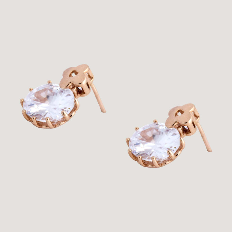 Crystal Oval Stud Earrings