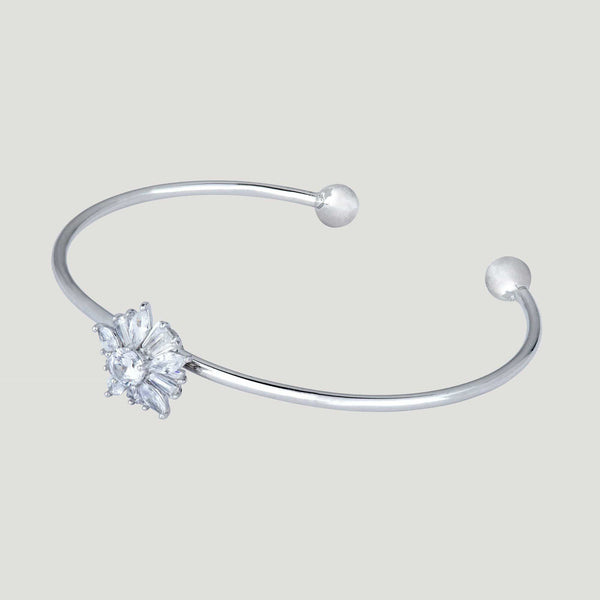 Spinning Crystal Flower Bangle