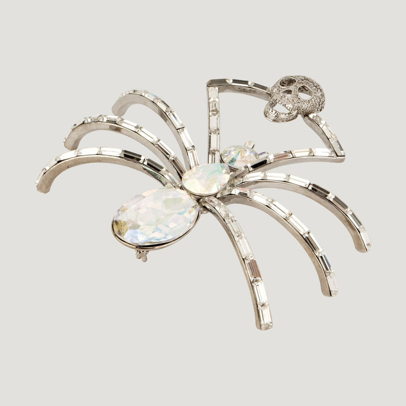 Crystal Spider with Skull Brooch