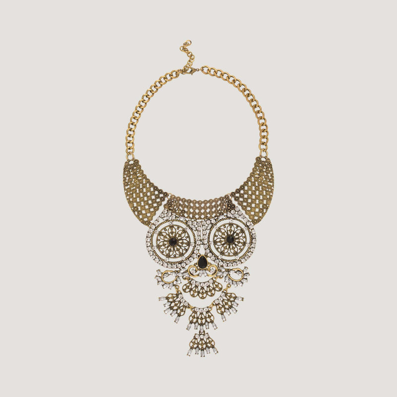 Crystal Filigree Owl Necklace