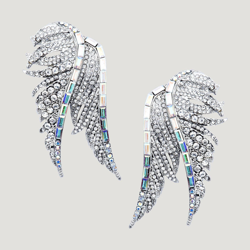 Crystal Double Wing Clip On Earrings