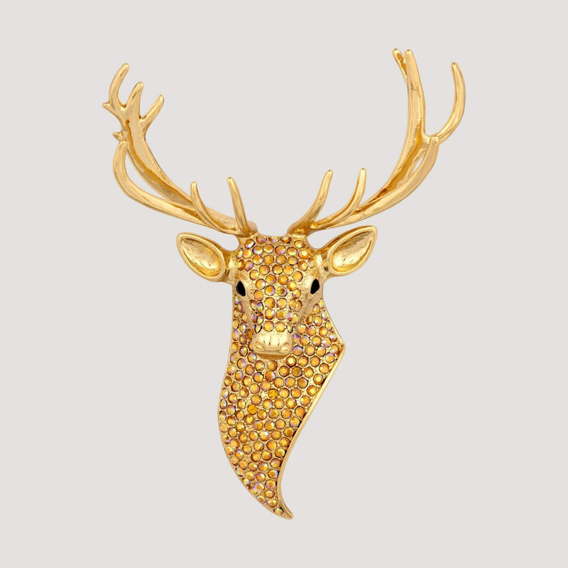 Crystal Encrusted Stag Head Brooch
