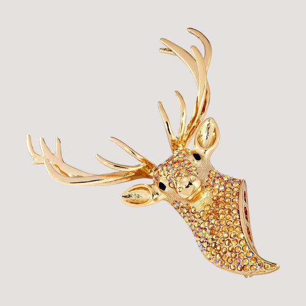 Crystal Stag Head Brooch
