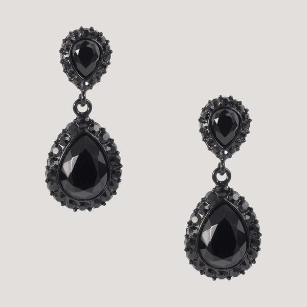 Black Small Crystal Teardrop & Stud Earrings