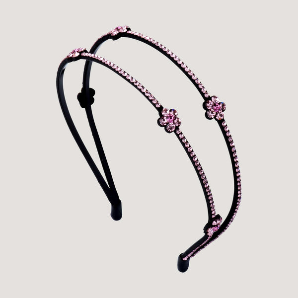 Double Row Crystal Flowers Hairband