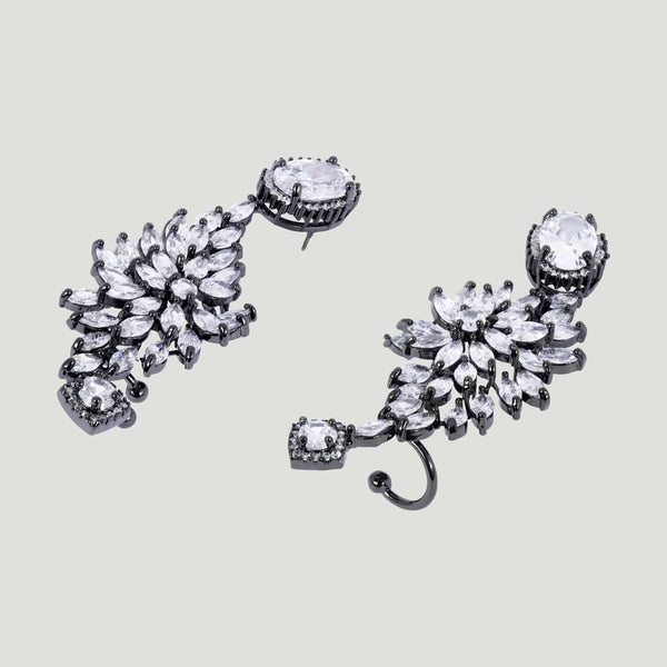 Elaborate Crystal Leaves Ear Cuffs