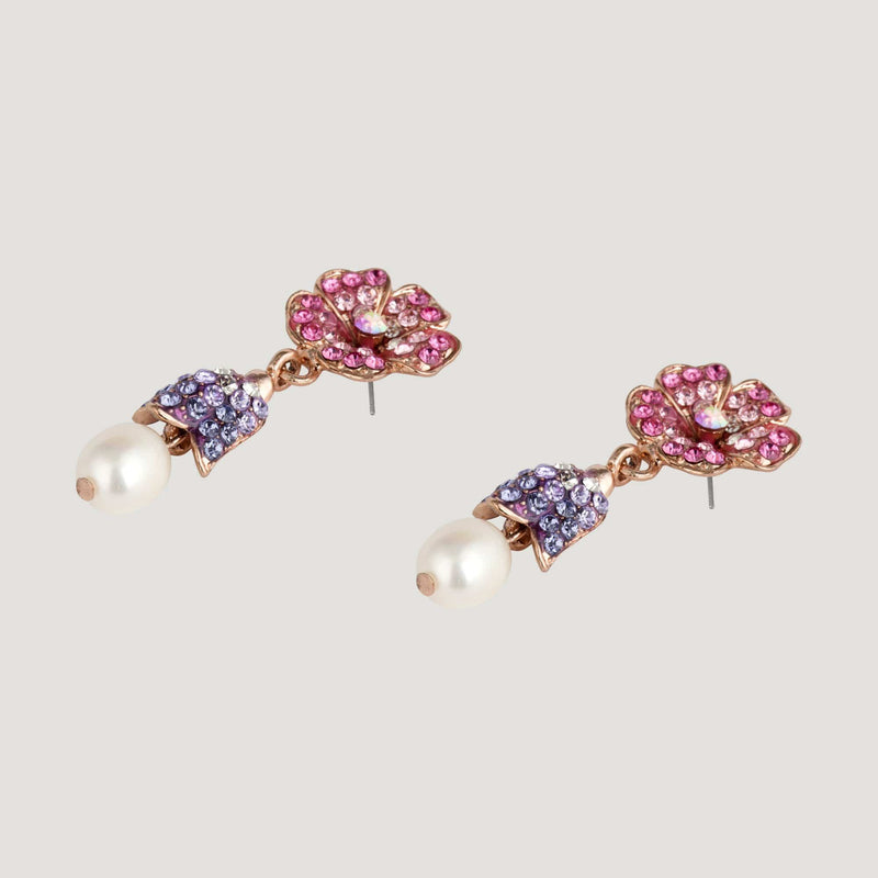 Flower with Pearl Drop Earrings