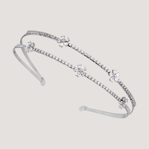 Crystal Flowers Row Hairband