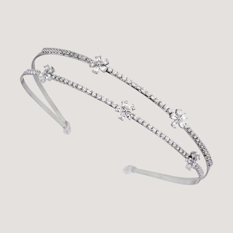 Delicate Crystal Flower Double Row Hairband