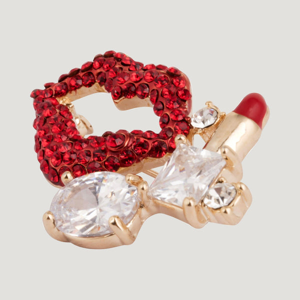 Crystal Lips and Lipstick Brooch